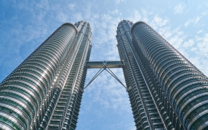 architecture, buildings, kuala lumpur, malaysia, perspective, petronas twin towers, sky, skyscrapers