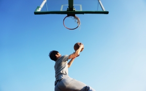 basketball, dunk, blue, game, basket, player, jump, ball, sports, sky