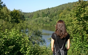 woman, girl, landscape, lake, forest, hike, hiking, summer, backpack, nature, landscape, green, female