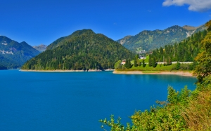 sauris, lake, summer, nature, mountains, landscape, sky, reflection, clouds, forest, trees, water