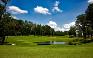 shoals course, alabama, golfing, sand trap, sports, sky, clouds, summer, nature, outdoors, trees, woods, grass, pond