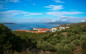 sea, coast, hotel, landscape, olives, trees, mediterranean, summer, greece, travel, mountains