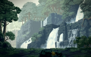 pixel art, waterfalls, landscape, water, nature