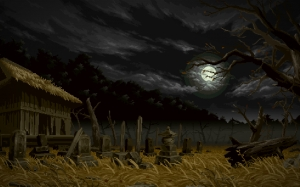 pixel art, japan, cementery, serene, dark, night, gloomy