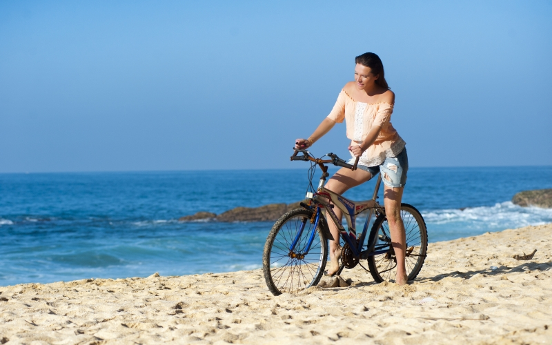 beach, beautiful, bicycle, bike, blue sky, coast, female, happiness, healthy, horizon, lady, leisure, ocean, person, recreation, relaxation, resort, sand, sea, seashore, summer, sunny,