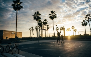 basketball, basketball court, beach, palm trees, people, sports, summer, sun, sunrise, sunset