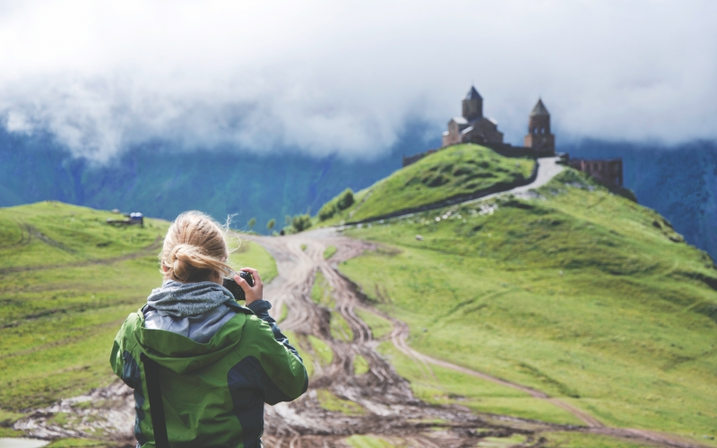 clouds, photographer, camera, hill, landscape, castle, women, mountains