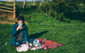 picnic, grass, person, phone, girl, nature