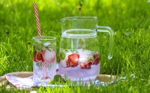 strawberry drink, fruit tea, ice, refreshment, summer, cool, strawberry, mint, jug, glass, grass, leisure, garden, lawn, picnic