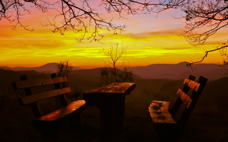 resting place, picnic, sunset, evening, nature, landscape, twilight, sky