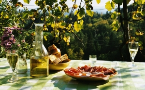 picnic, nature, drink, grapes, wine, meat, roll, bread, food