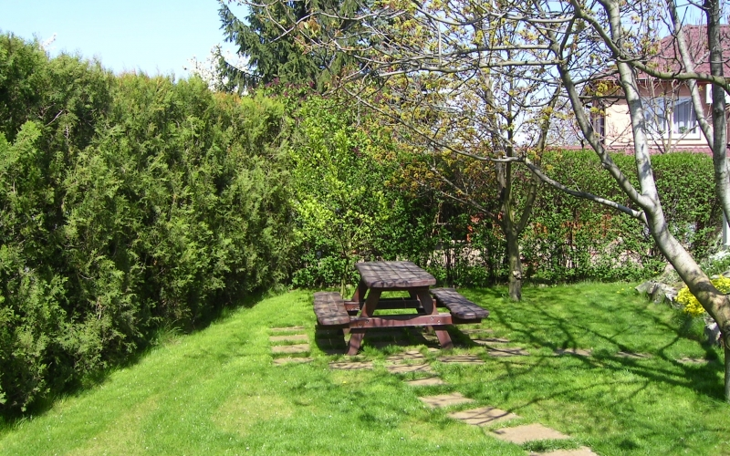 garden, picnic table, rest, garden bench
