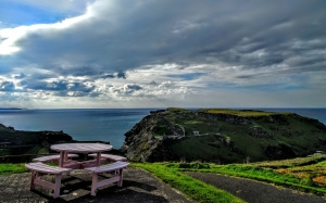 coast, cornwall, sky, horizon, seascape, sunny, picnic, clouds, nature, landscape