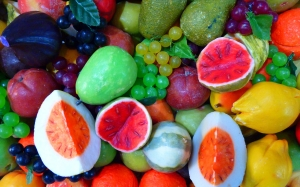 soap, colorful, color, fruit, knallbunt, melon, peach, grapes, made dish, oranges, lemons, gaudy, food