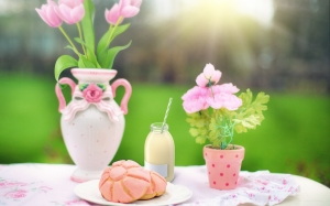 snack, pastry, milk, flowers, pink, spring, outdoor, food, dessert, sweet, delicious, breakfast, colorful, picnic, summer, nature, table