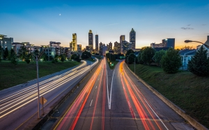 jackson street bridge, atlanta, united states, usa, city, highway, light, traffic, building, road