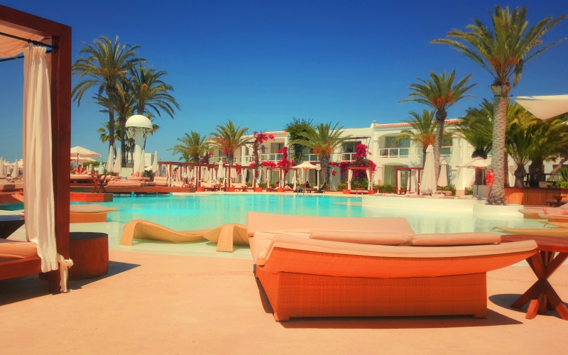 architecture, bed, comfortable, hotel, leisure, luxury, palms, poolside, relaxation, resort, summer, sunshade, travel, tunisia, vacation, water