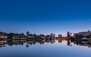 reflection, resort, sunrise, sunset, tropical, water, evening, blue, sky