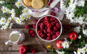 still life, food, table, raspberries, apples, flowers, chamomile, berries, summer, garden