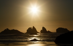 stunning, sundown, sunset, landscape, landscape, nature, oregon, pacific ocean, sun, sea, beach