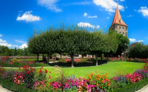 nature, garden, flowers, park, bloom, summer, tower, castle, nuremberg, burggarten, trees, flower bed, plants, sky, blue