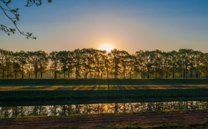 countryside, dusk, evening, fall, field, grass, landscape, light, nature, outdoors, rural, scenic, shade, summer, sunset, trees, water, wood, river