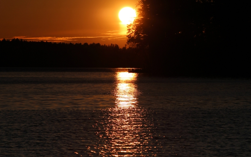 nature, landscape, sunset, lake, river, water, trees, sun, sky, summer, forest, woods
