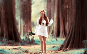 beautiful, blur, bouquet, female, flowers, forest, girl, model, outdoors, redhead, trees, walking, woman, woods, young