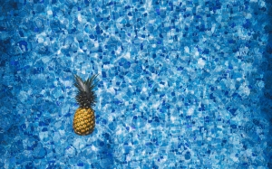 blue, design, floating, fruit, pineapple, pool, tiles, tropical, water, summer