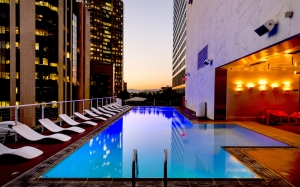 architecture, water, buildings, business, city, dusk, evening, hotel, illuminated, lounge chairs, luxury, metropolis, skyscrapers, sunset, swimming pool, urban, water, los angeles, california, usa, america
