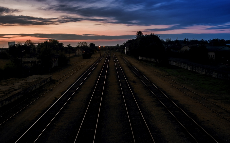 dark, dawn, landscape, railroad tracks, railways, sunset, tracks, transportation system, travel, night, evening