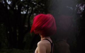 dark, fashion, forest, girl, hipster, outdoors, park, people, person, red hair, reflection, shadow, trees, woman