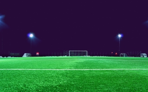 evening, field, football, grass, green, lawn, lights, night, soccer, spotlight, stadium, sport