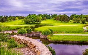 countryside, grass, lake, pond, river, scenic, trees, water, landscape, park, sky, clouds, golf course