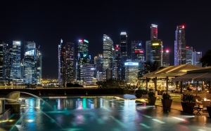 singapore, night, architecture, skyscrapers, city, lighting, lights, luxury hotel, illuminated, mirroring, reflection, pool