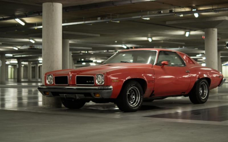 cars, parking, garage, transportation, red, muscle car, vehicle, old