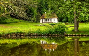 nature, park, house, landscape, trees, pond, lake, countryside,