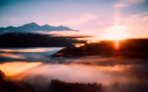 new zealand, sunrise, morning, fog, sky, clouds, mountains, landscape, nature, stunning, forest