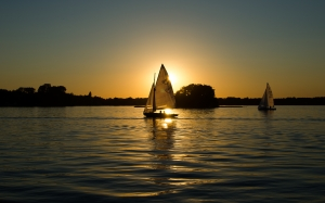 sailing boats, calm, evening, sunset, vacation, sailboats, water, sea, sky, lake, landscape, nature