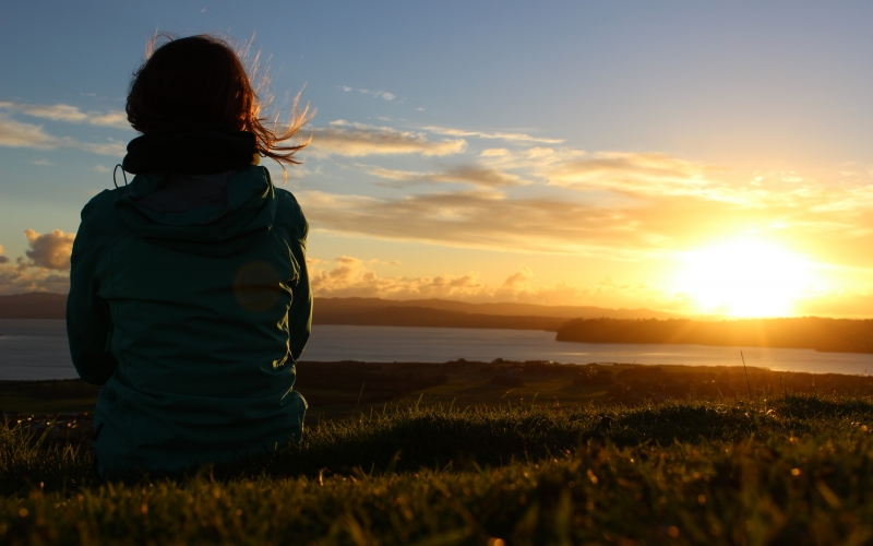 sunset, meadow, nature, relaxation, new zealand, view, man, women, from the back, coast, landscape, sea