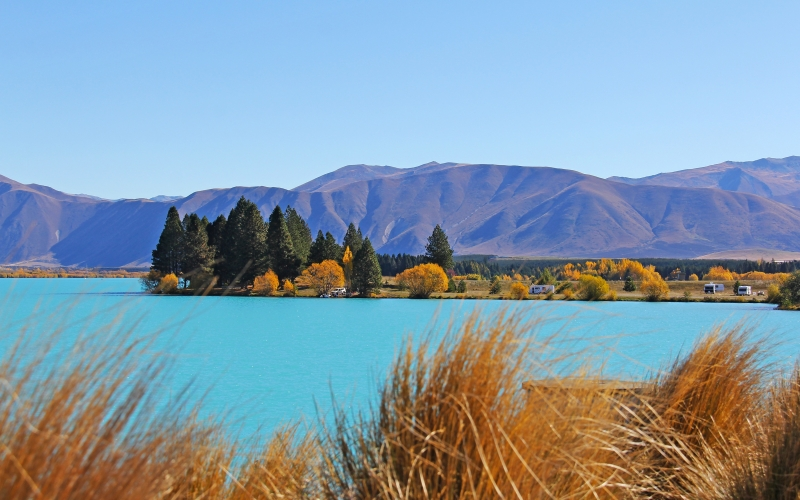 landscape, nature, turquoise, lake, mountains, autumn, sea, ocean, lake benmore, queenstown, new zealand