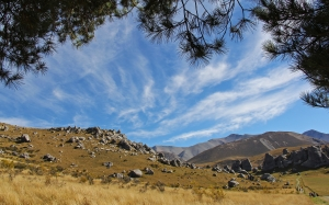 blue sky, mountain, nature, clouds, castle hill, new zealand, nature, landscape, stones