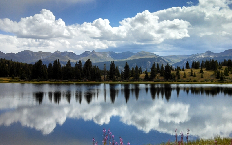landscape, water, scenic, lake, mountains, forest, grass, park, reflection, clouds sky, summer, nature