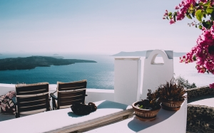 view, mountain, sea, ocean, water, resort, chairs, flowers, pot, sunny, summer, vacation, sky, coast