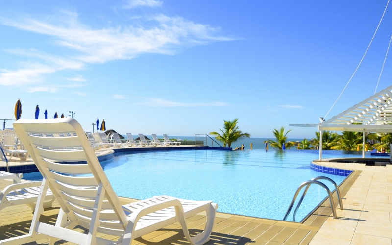 landscape, summer, resort, horizon, hotels, pool, blue, sunny, vacation