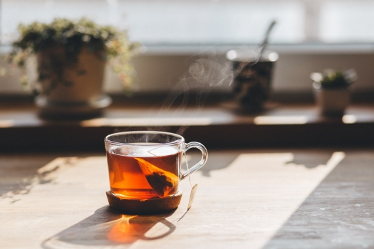 blur, close-up, cup, drink, glass, hot, smoke, table, tea, teacup, warmly, fume