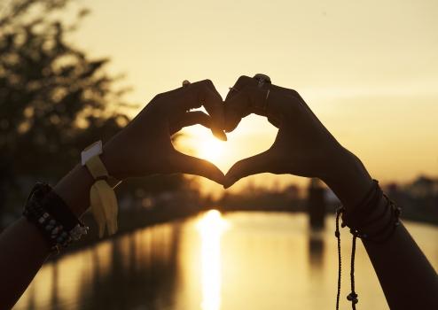 love, bracelets, dawn, dusk, hands, heart, rings, sky, sun, sunrise, sunset