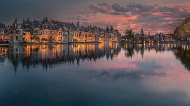 zonsondergang, strandtenten, cityscape, architecture, city, old, canal, river, sunset, evening