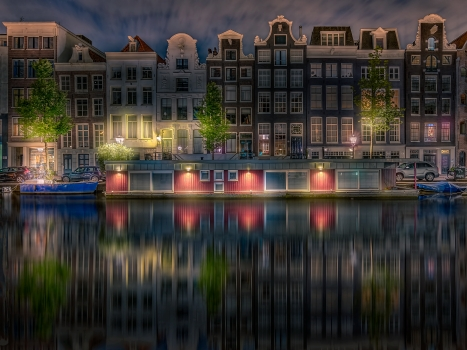 amsterdam, canal, canalhouses, water, landsachap, cityscape, clouds, cities, architecture, river, lights, evening, night