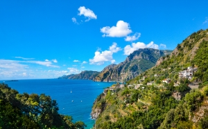 ocean, amalfi, coast, sorrento, italy, shoreline, coastline, beach, rocks, mountains, landscape, italian, vacation, travel, sea, mediterranean, blue, summer, nature, sunny, town